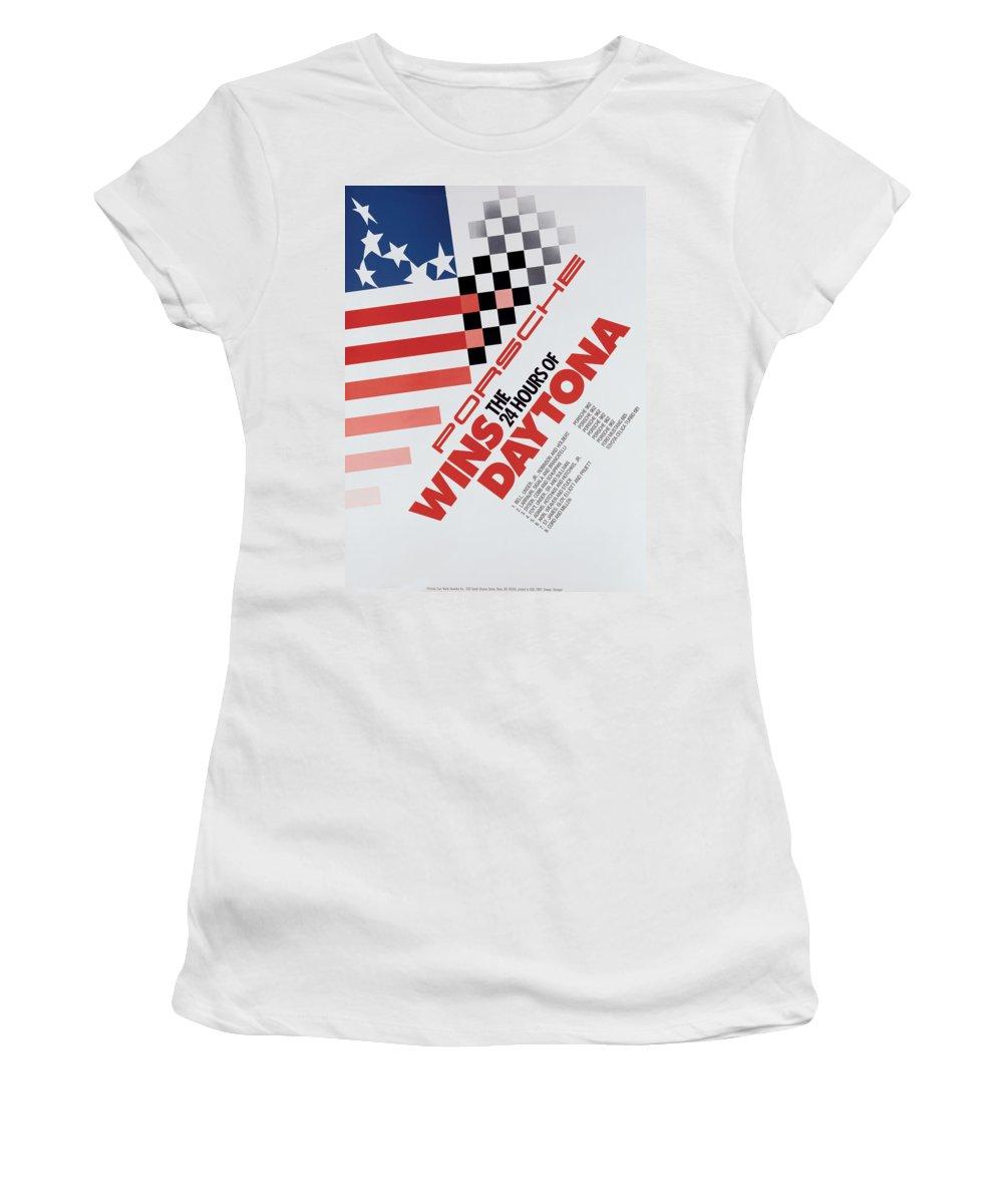 Porsche Women's T-Shirt featuring the digital art Porsche 24 Hours Of Daytona Wins by Georgia Fowler