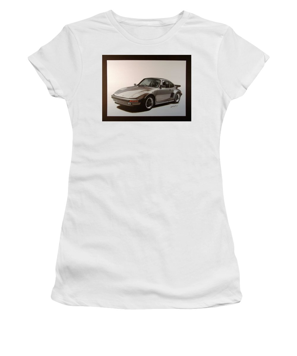 Car Women's T-Shirt (Athletic Fit) featuring the painting Porsche by Shawn Stallings
