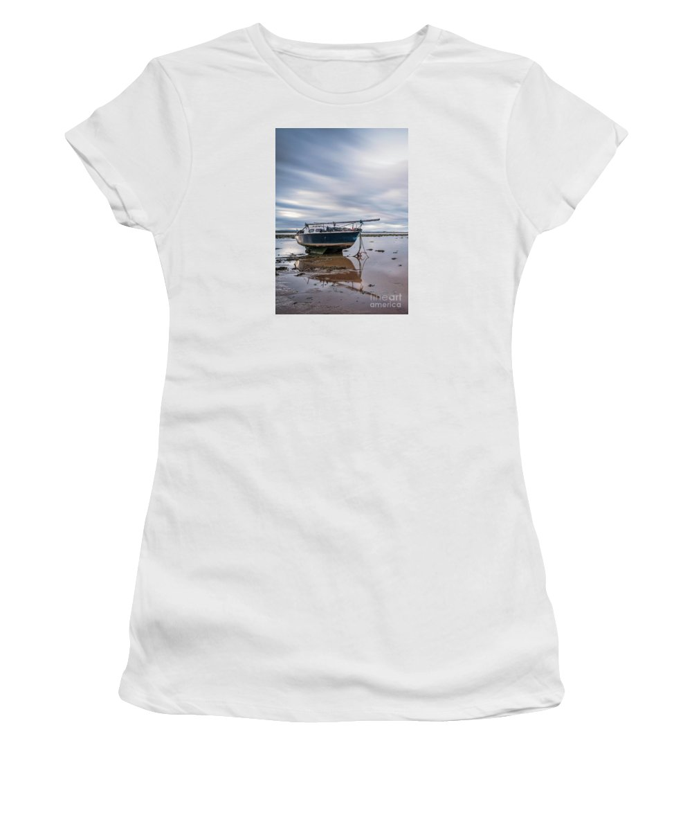 Boat Women's T-Shirt (Athletic Fit) featuring the photograph Port Carlisle Boat by Fiona Smith