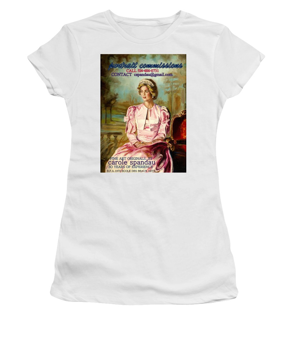 Commissioned Art Women's T-Shirt (Athletic Fit) featuring the painting Portrait Commissions By Portrait Artist Carole Spandau by Carole Spandau