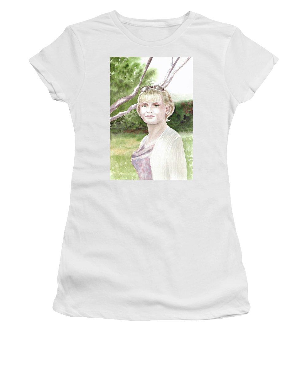 Portrait Women's T-Shirt featuring the painting Portrait by Irina Sztukowski
