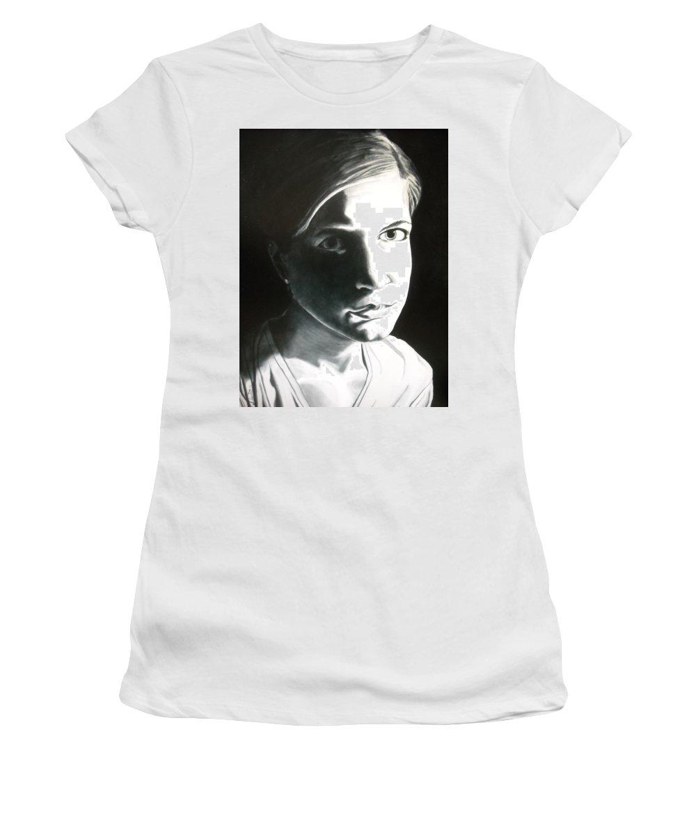 Portraits Women's T-Shirt (Athletic Fit) featuring the painting Portrait Of Bridget L. by Kevin Schmoldt
