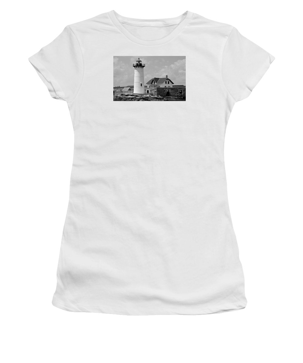 Portsmouth Women's T-Shirt (Athletic Fit) featuring the photograph Portsmouth Harbor Lighthouse by Cathy Fitzgerald