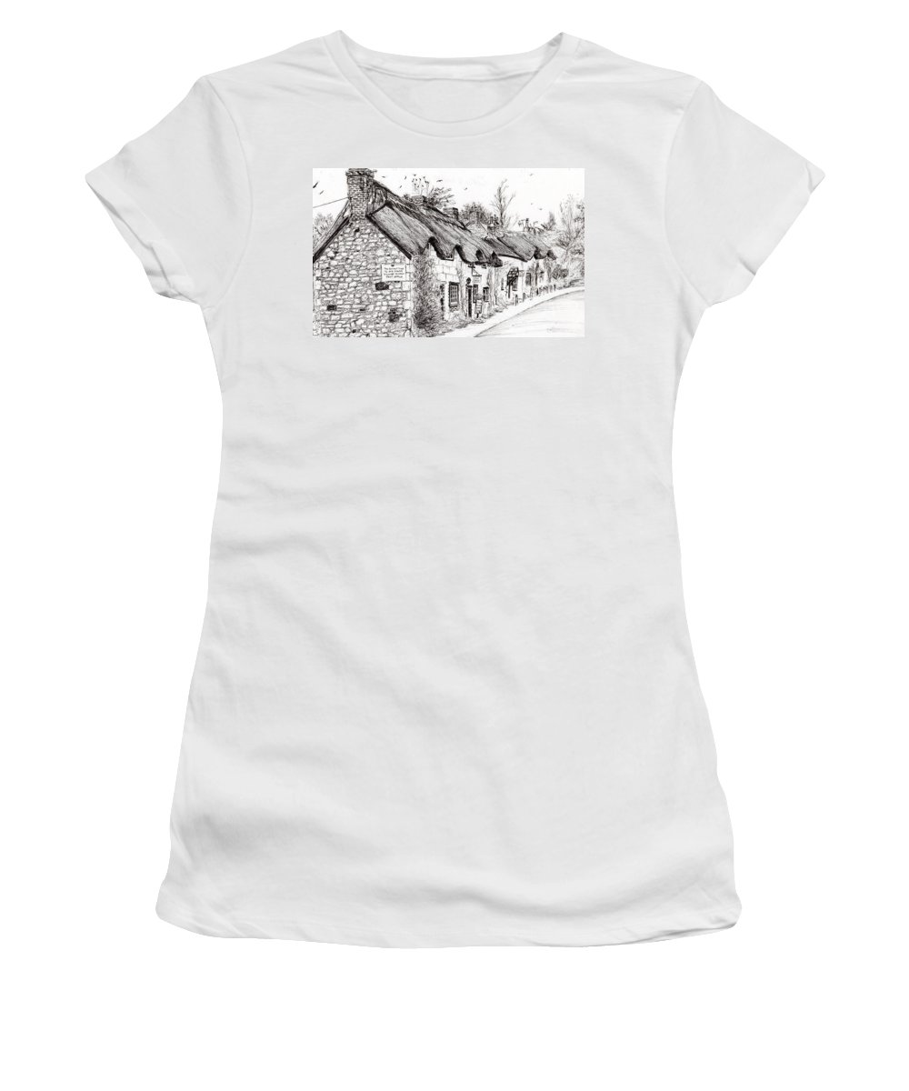 Brighstone Women's T-Shirt featuring the drawing Post Office And Museum by Vincent Alexander Booth