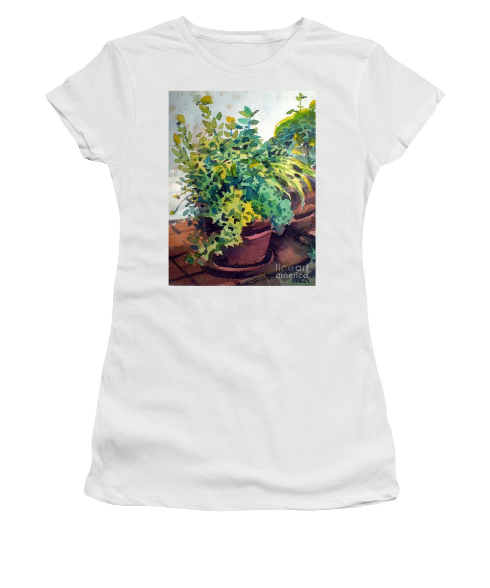 Herbs Women's T-Shirt (Athletic Fit) featuring the painting Potted Herbs by Donald Maier