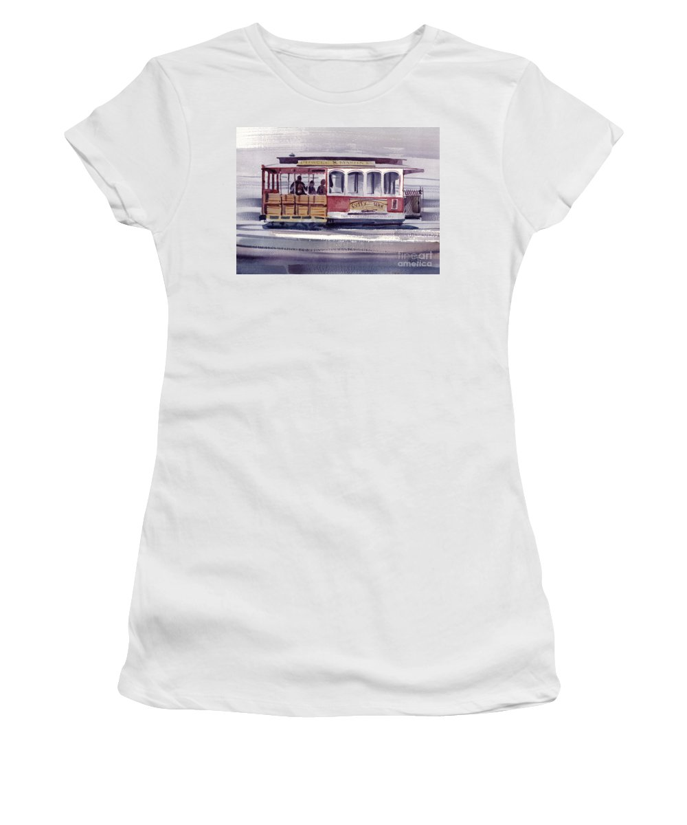 Powell Women's T-Shirt (Athletic Fit) featuring the painting Powell And Mason Line by Donald Maier