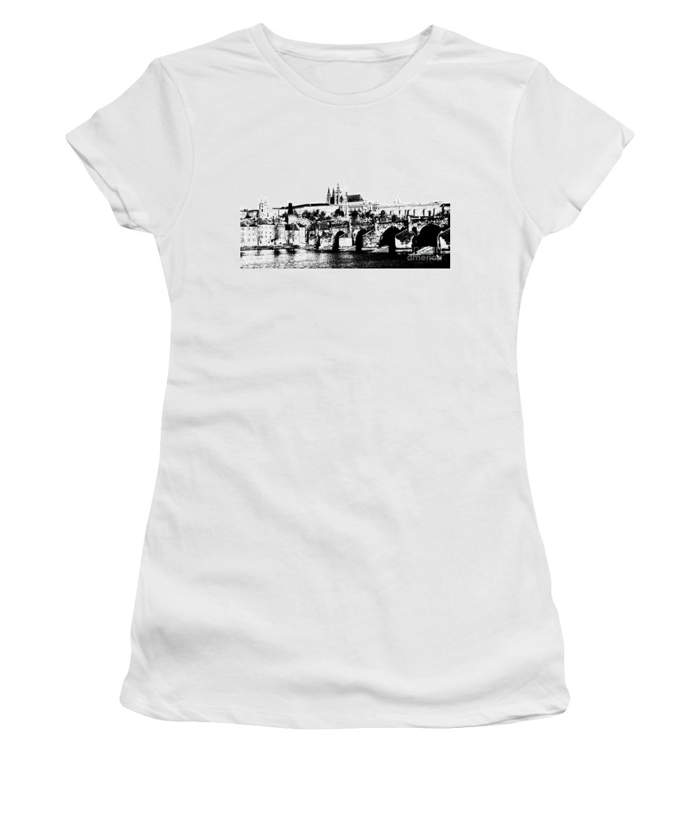 Prague Castle Women's T-Shirt (Athletic Fit) featuring the digital art Prague Castle And Charles Bridge by Michal Boubin