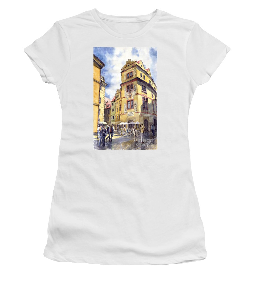 Architecture Women's T-Shirt (Athletic Fit) featuring the painting Prague Karlova Street Hotel U Zlate Studny by Yuriy Shevchuk