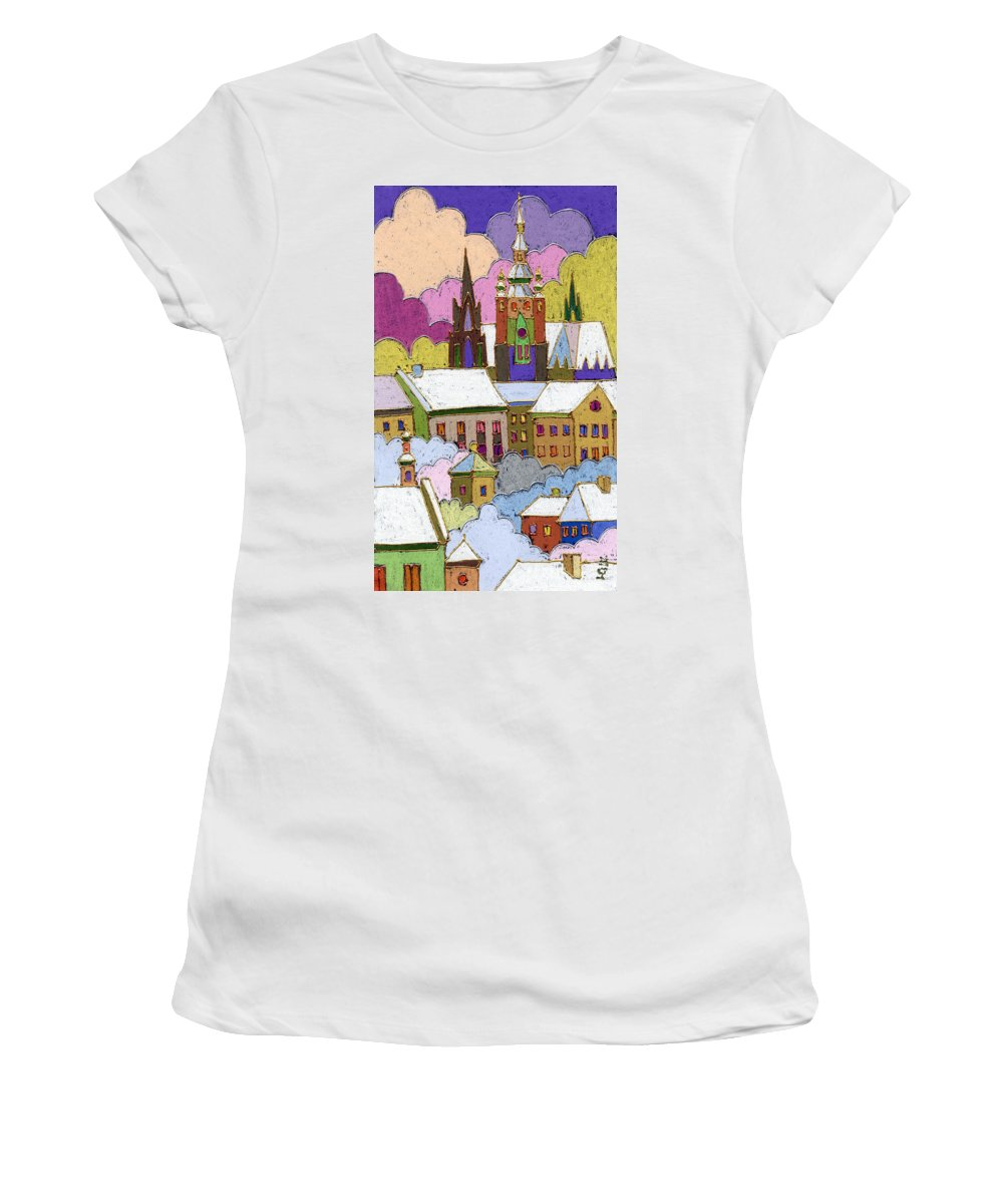 Pastel Women's T-Shirt featuring the painting Prague Old Roofs Prague Castle Winter by Yuriy Shevchuk