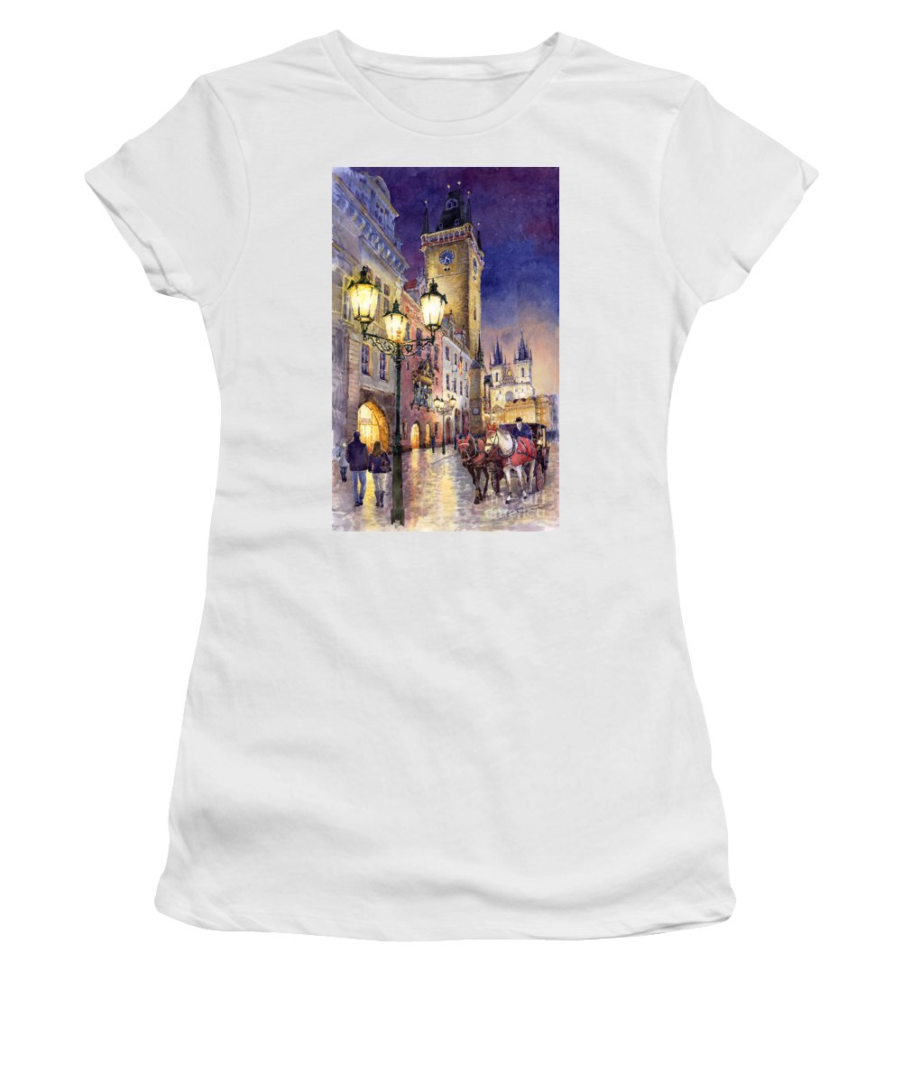Cityscape Women's T-Shirt (Athletic Fit) featuring the painting Prague Old Town Square 3 by Yuriy Shevchuk