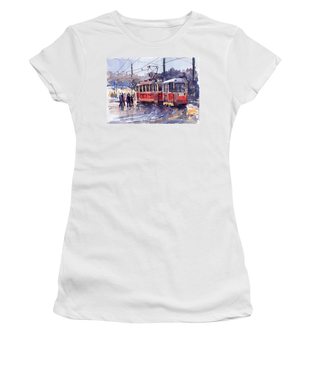 Cityscape Women's T-Shirt (Athletic Fit) featuring the painting Prague Old Tram 01 by Yuriy Shevchuk