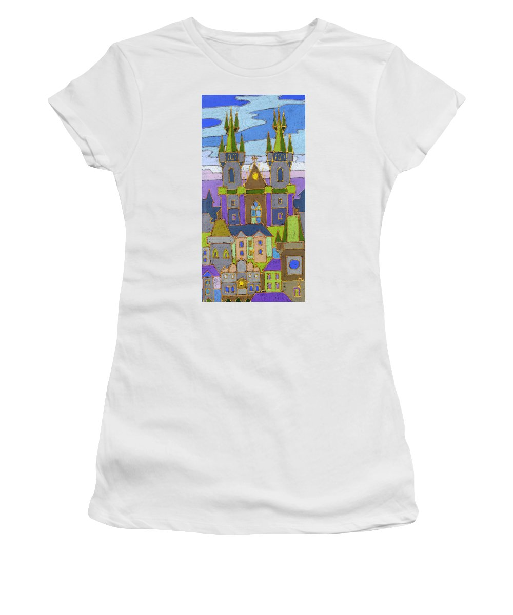 Pastel Women's T-Shirt (Athletic Fit) featuring the painting Prague Panorama by Yuriy Shevchuk