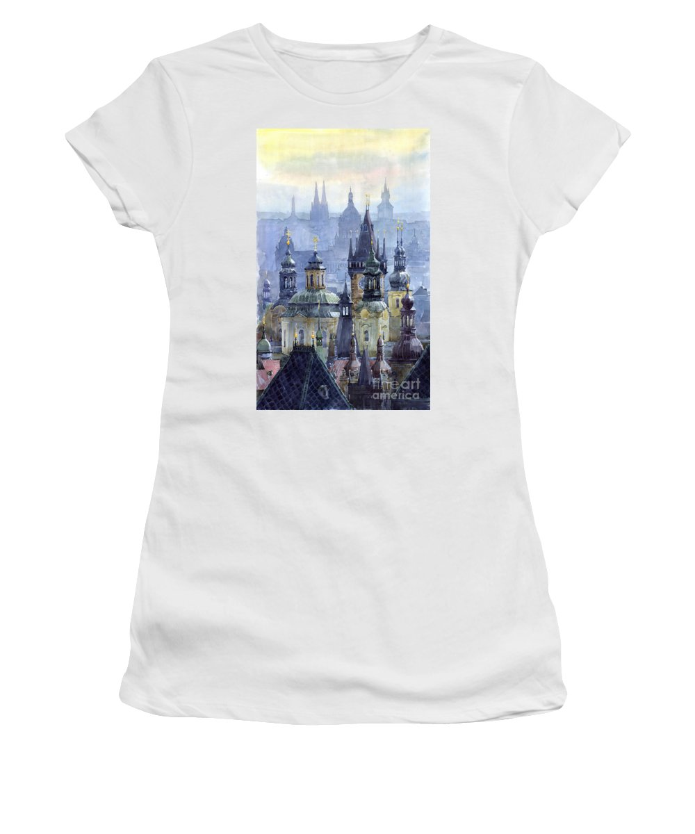 Architecture Women's T-Shirt featuring the painting Prague Towers by Yuriy Shevchuk