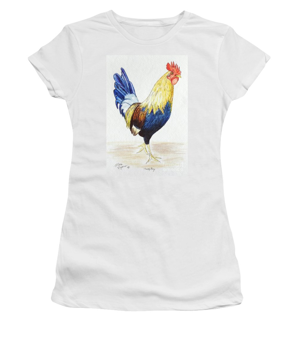 Rooster Women's T-Shirt (Athletic Fit) featuring the mixed media Pretty Boy by Mary Rogers