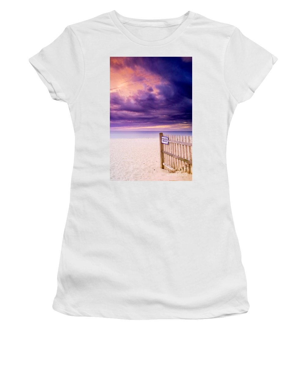 Centerville Women's T-Shirt (Athletic Fit) featuring the photograph Private Beach Cape Cod by Matt Suess