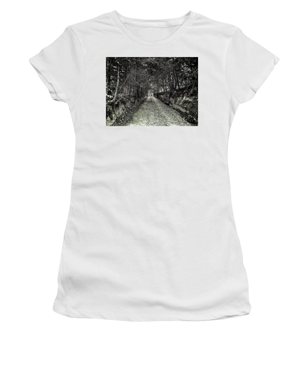 Tree Roots Women's T-Shirt (Athletic Fit) featuring the photograph Private Road B by John Myers