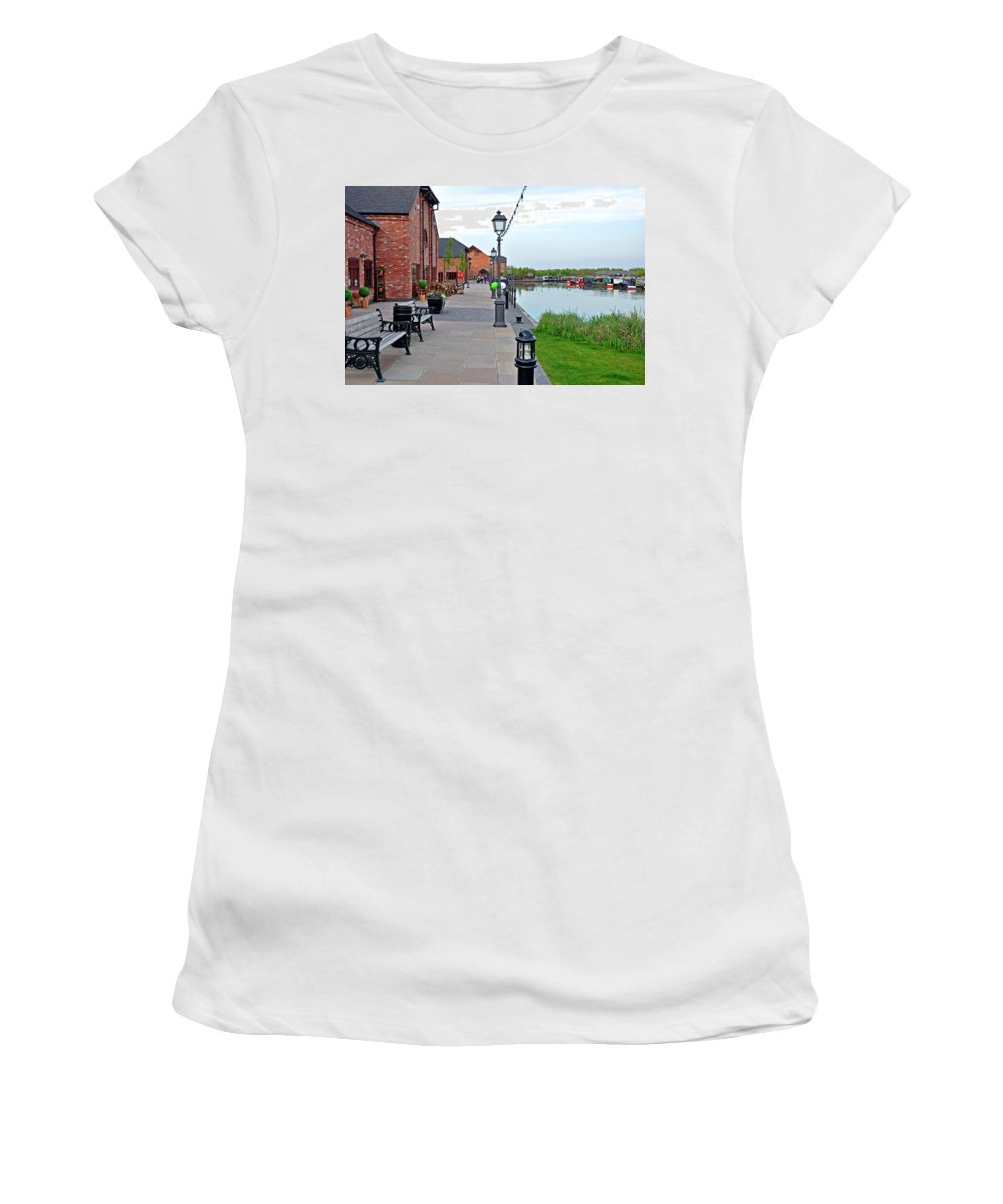 Europe Women's T-Shirt (Athletic Fit) featuring the photograph Promenade And Boats At Barton Marina by Rod Johnson
