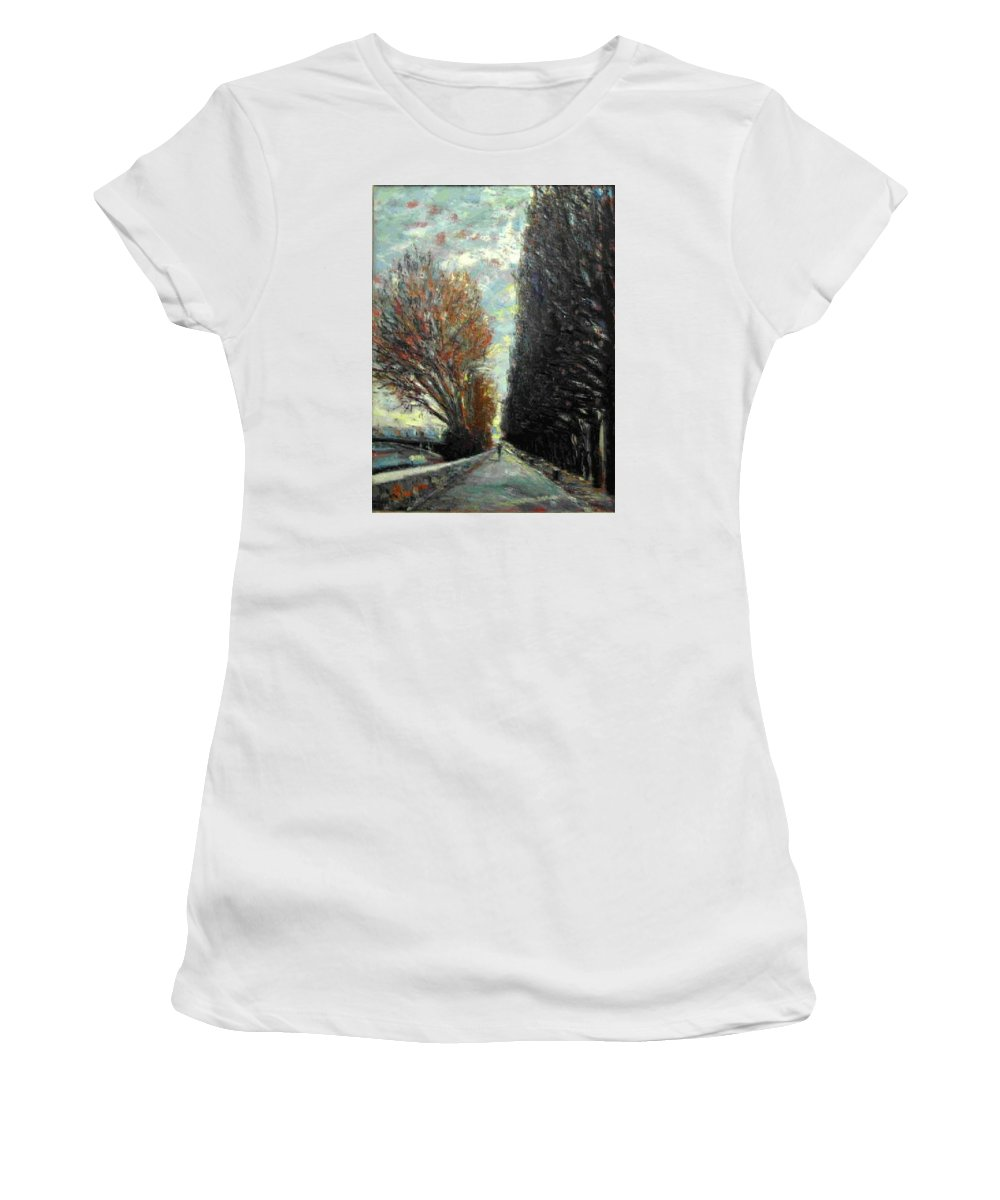 Landscape Women's T-Shirt (Athletic Fit) featuring the painting Promenade by Walter Casaravilla