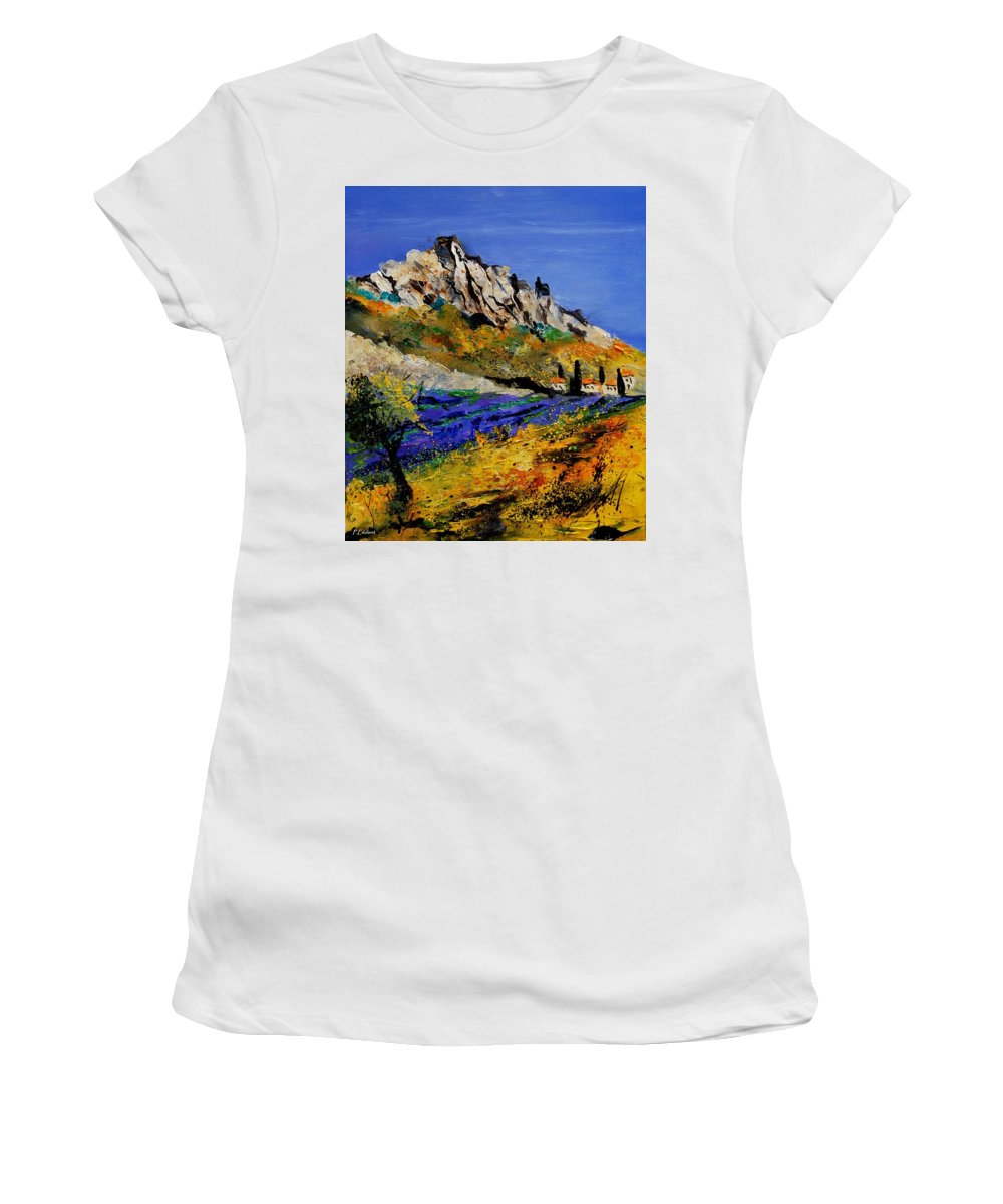 Flowers Women's T-Shirt (Athletic Fit) featuring the painting Provence 560908 by Pol Ledent