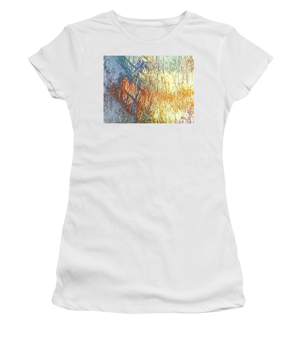Abstract Women's T-Shirt (Athletic Fit) featuring the digital art Pueblo Downtown-river Grasses 2 by Lenore Senior