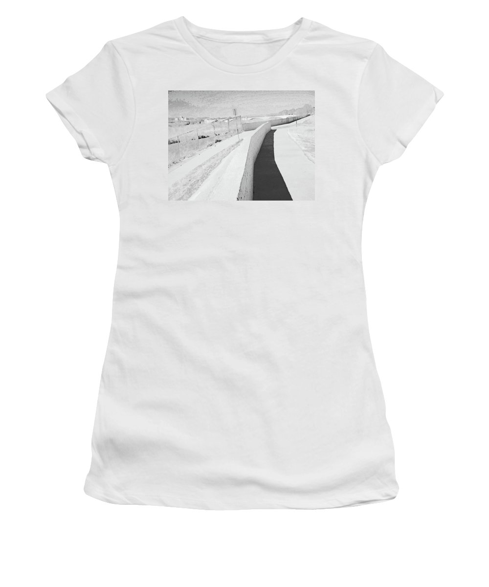 Abstract Women's T-Shirt (Athletic Fit) featuring the photograph Pueblo Downtown--river Wall by Lenore Senior