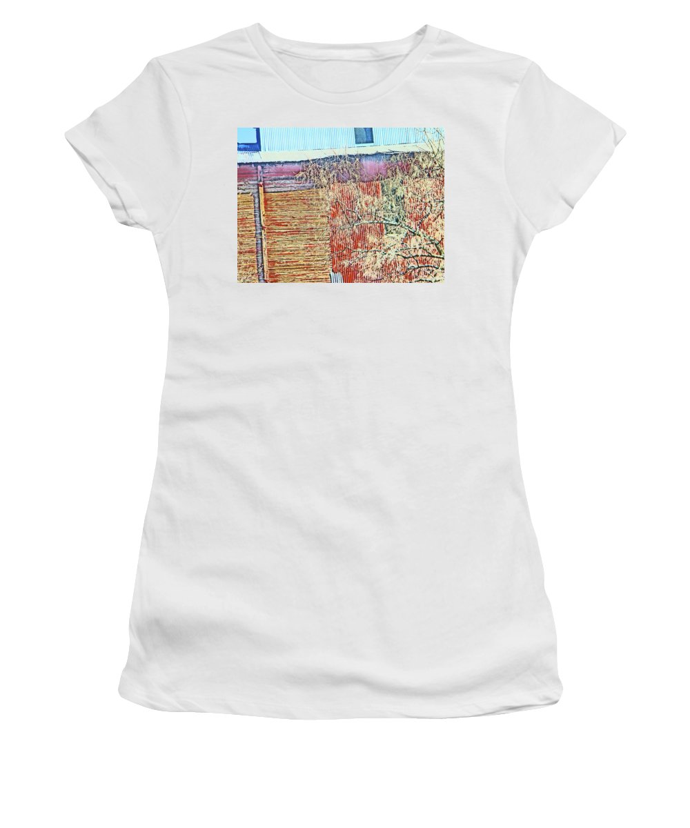 Abstract Women's T-Shirt (Athletic Fit) featuring the photograph Pueblo Downtown--sweeney Feed Mill 2 by Lenore Senior
