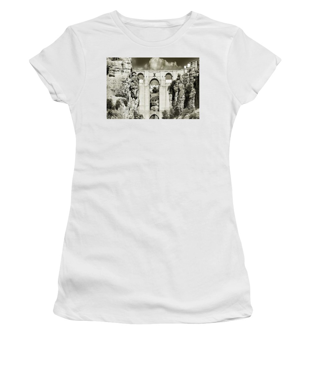 Bridge Women's T-Shirt (Athletic Fit) featuring the photograph Puente Nuevo Tajo De Ronda Andalucia Spain Europe by Mal Bray