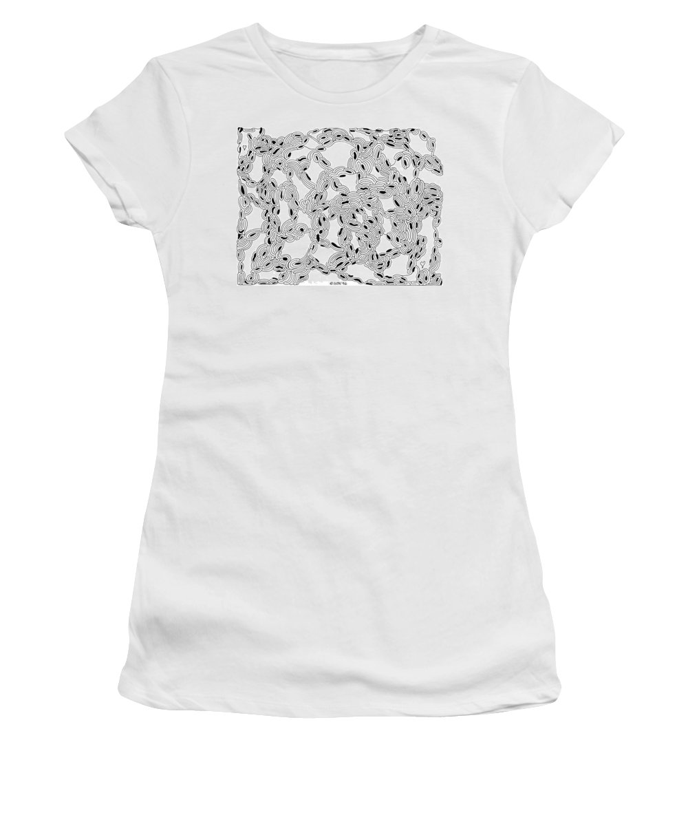 Mazes Women's T-Shirt (Athletic Fit) featuring the drawing Pulse by Steven Natanson