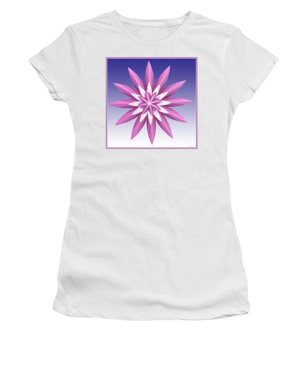 Fractal Women's T-Shirt (Athletic Fit) featuring the digital art Purple Flower by Deborah Benoit