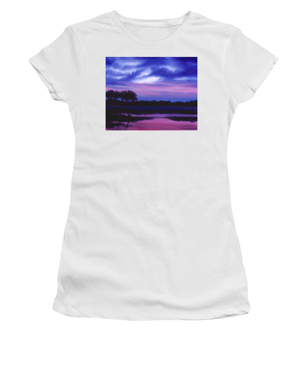 Sunrise Women's T-Shirt (Athletic Fit) featuring the painting Purple Landscape Or Jean's Clearing by James Christopher Hill