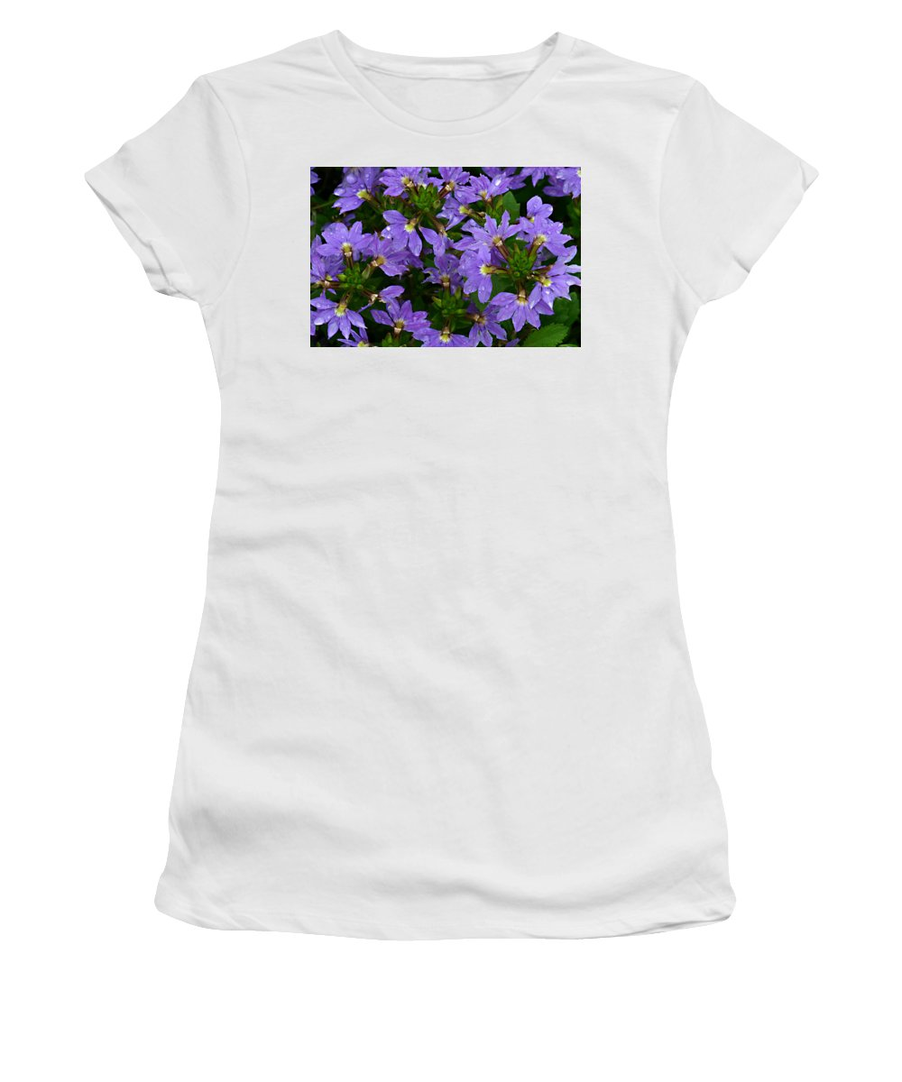 Purple Flower Plant Green Photograph Photography Women's T-Shirt (Athletic Fit) featuring the photograph Purple Perspective by Shari Jardina