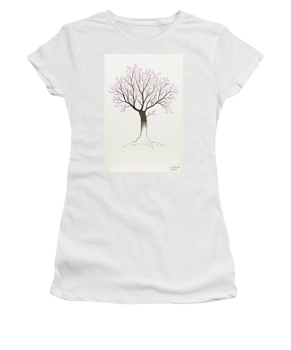 Tree Women's T-Shirt featuring the painting Purple Tree by Stefanie Forck