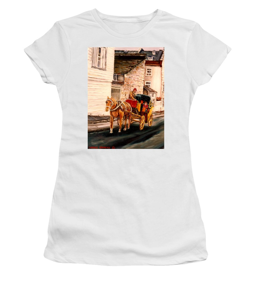 Quebec City Carriage Ride Women's T-Shirt (Athletic Fit) featuring the painting Quebec City Carriage Ride by Carole Spandau