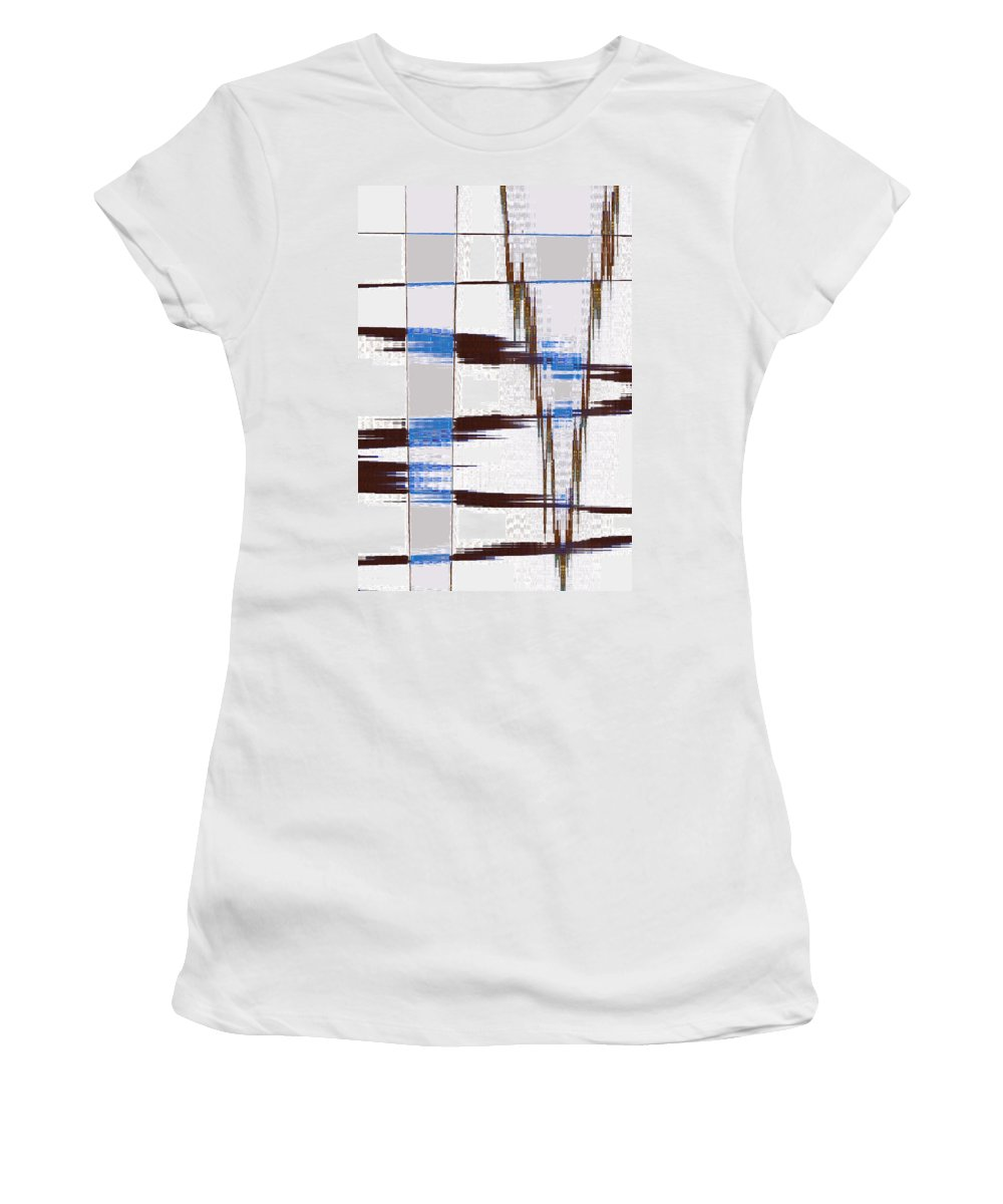 Abstract Women's T-Shirt (Athletic Fit) featuring the digital art Quiet Abstract by Lenore Senior