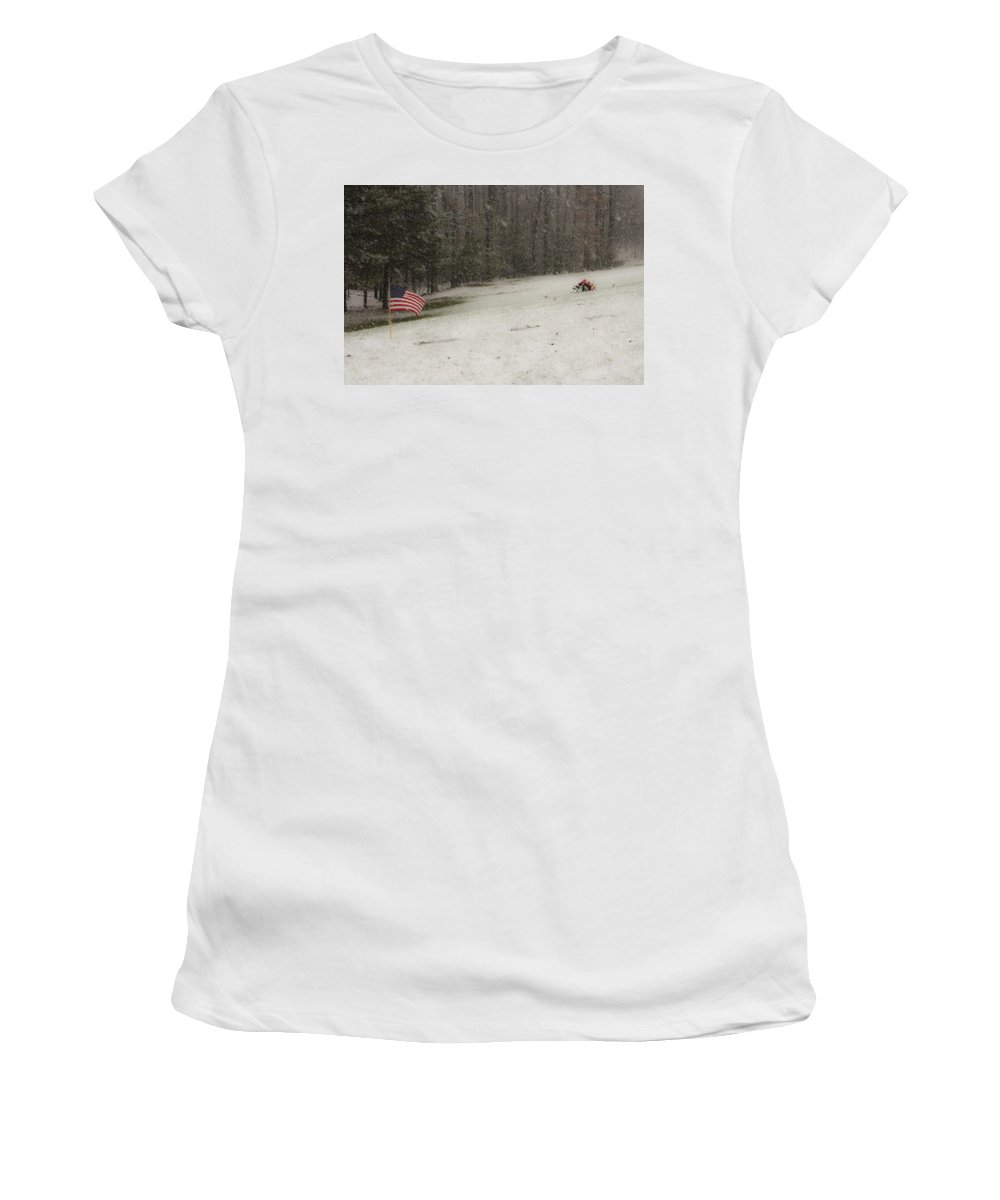 Cemetery Women's T-Shirt (Athletic Fit) featuring the photograph Quiet Remembrance Quantico National Cemetery by Teresa Mucha