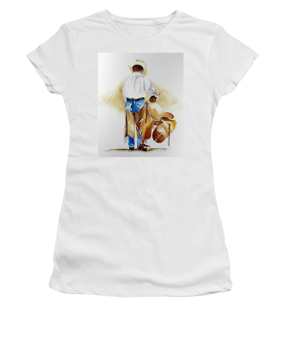 Boots Women's T-Shirt featuring the painting Quittin Time by Jimmy Smith