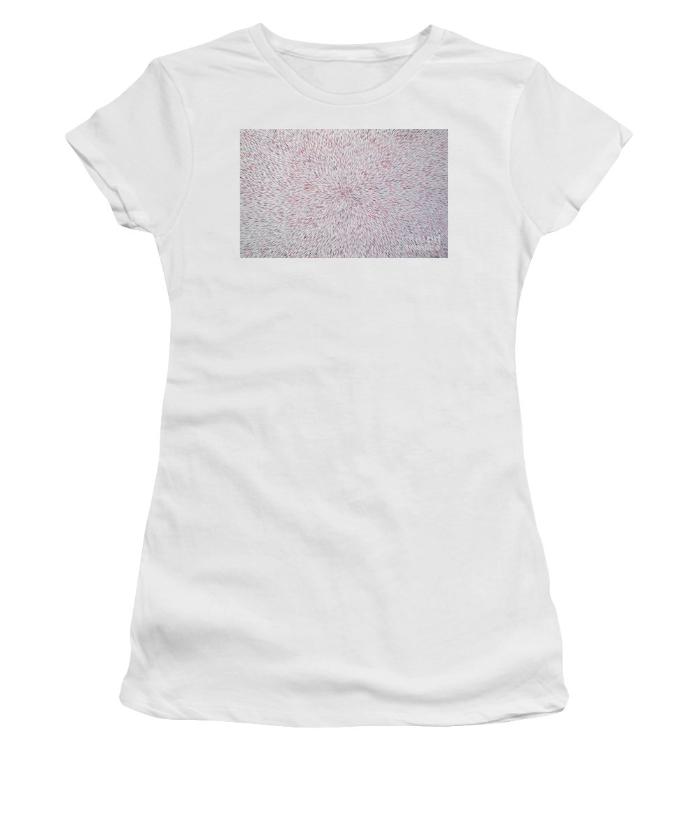 Abstract Women's T-Shirt (Athletic Fit) featuring the painting Radiation With Black And Red by Dean Triolo