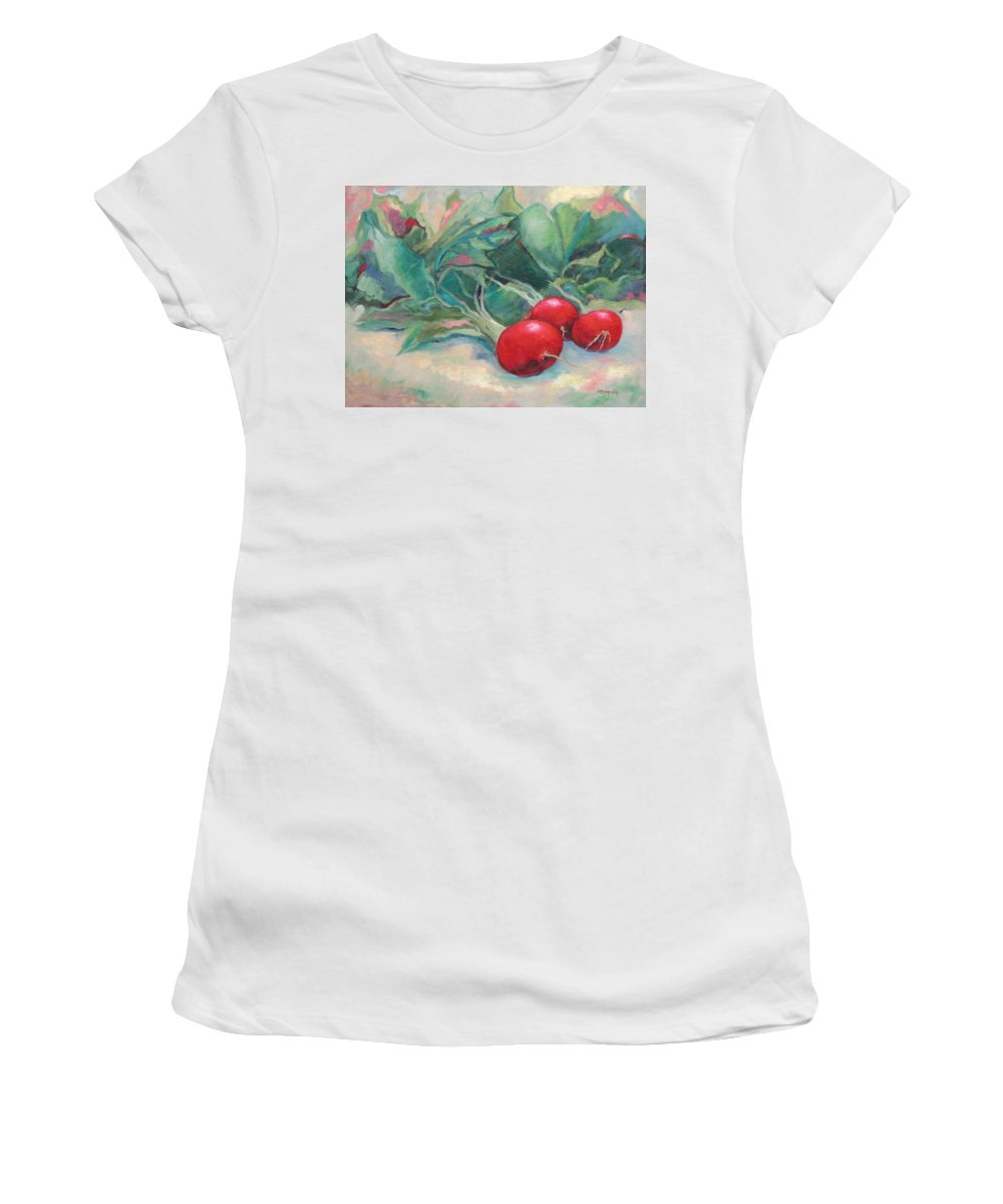 Radishes Women's T-Shirt (Athletic Fit) featuring the painting Radishes by Ginger Concepcion