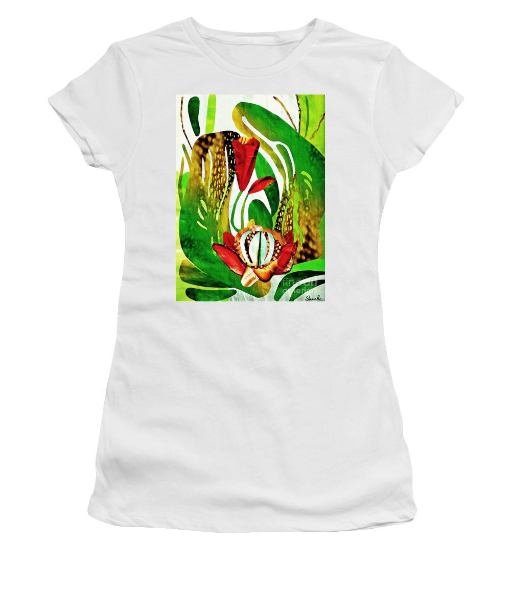 Floral Women's T-Shirt (Athletic Fit) featuring the mixed media Rain Flowers by Sarah Loft