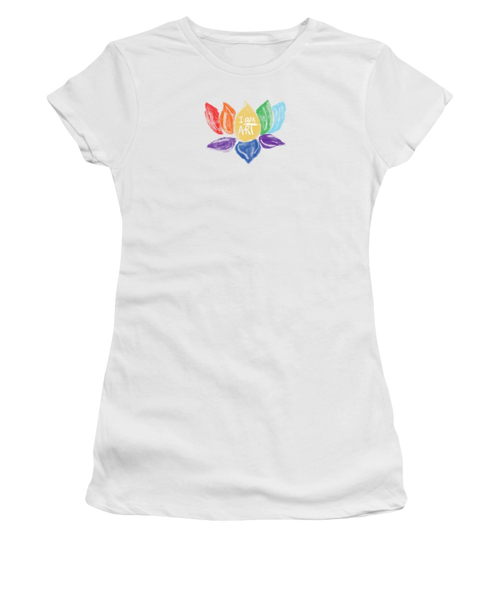 Lotus Women's T-Shirt featuring the mixed media Rainbow Lotus I AM ART- Art by Linda Woods by Linda Woods