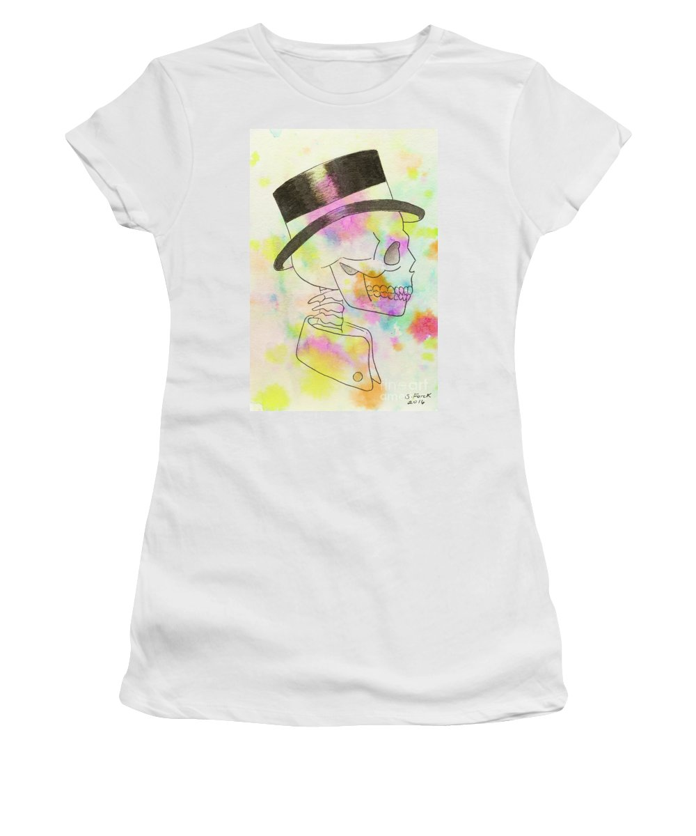 Mr Women's T-Shirt featuring the painting Rainbow Mr. by Stefanie Forck