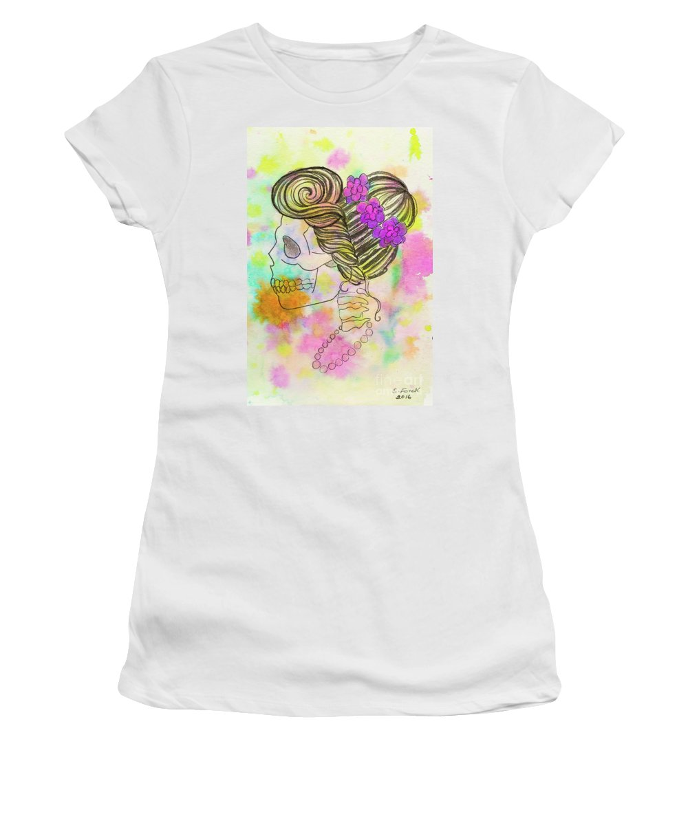 Mrs Women's T-Shirt featuring the painting Rainbow Mrs. by Stefanie Forck