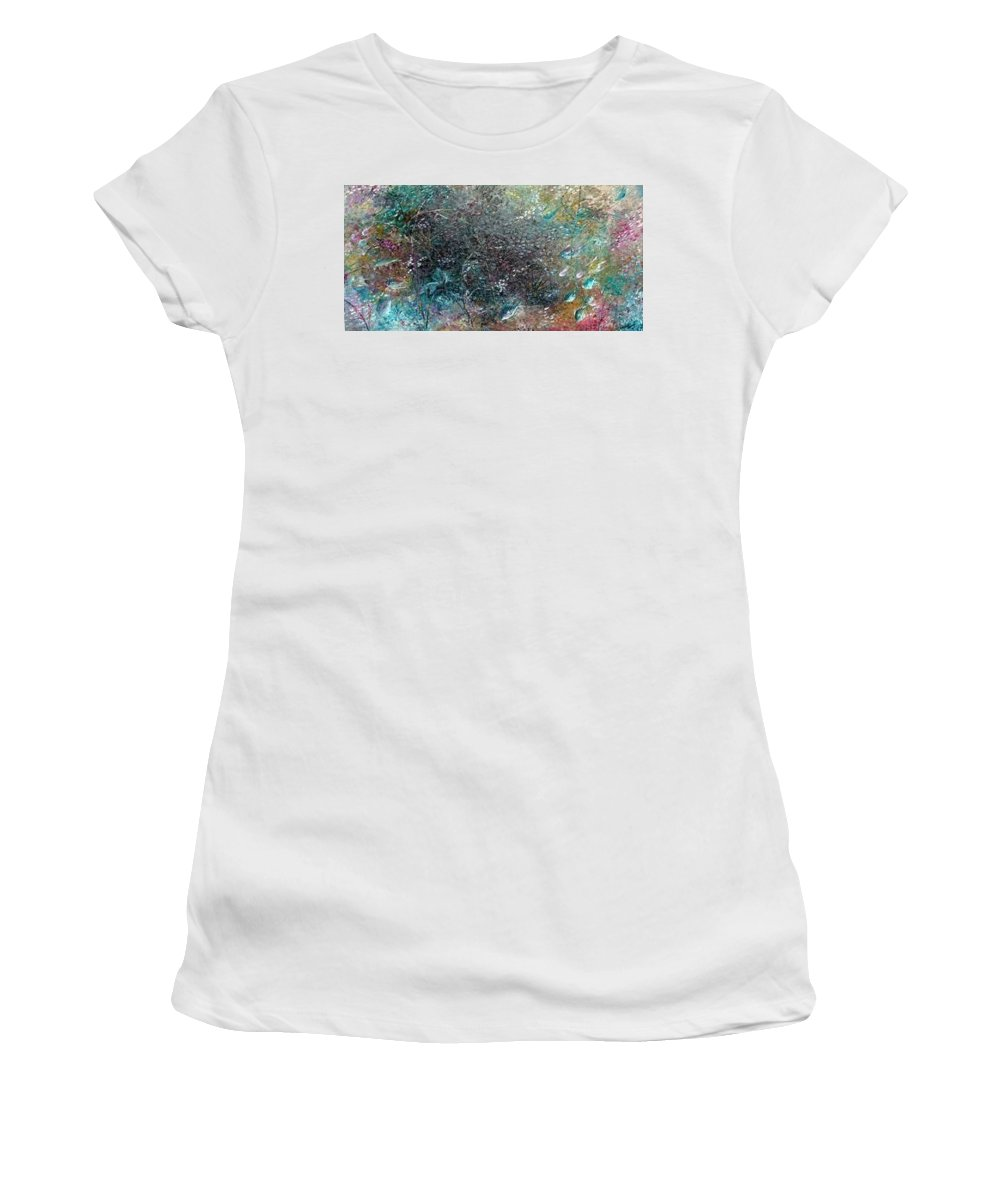 Original Abstract Painting Of Under The Sea Women's T-Shirt (Junior Cut) featuring the painting Rainbow Reef by Karin Dawn Kelshall- Best