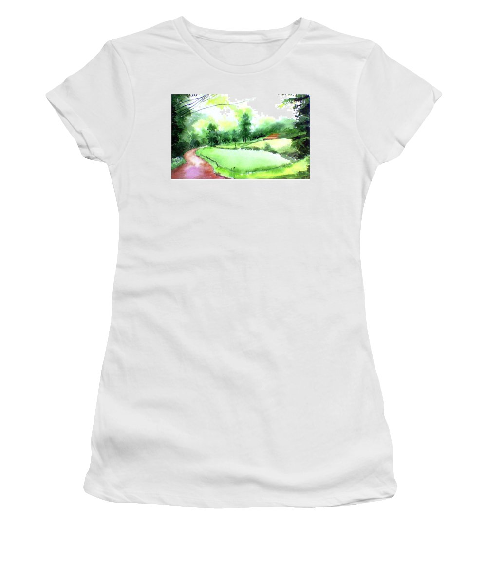 Landscape Women's T-Shirt (Athletic Fit) featuring the painting Rains In West by Anil Nene