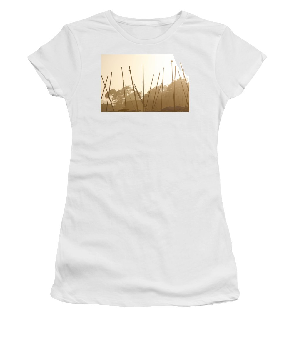 Boat Women's T-Shirt (Athletic Fit) featuring the photograph Random Masts by Marilyn Hunt