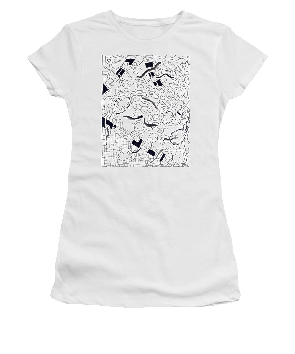 Abstract Women's T-Shirt (Athletic Fit) featuring the drawing Ratna by Steven Natanson