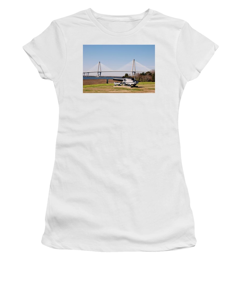 Photography Women's T-Shirt (Athletic Fit) featuring the photograph Ravanel Bridge From The Patriot Point by Susanne Van Hulst