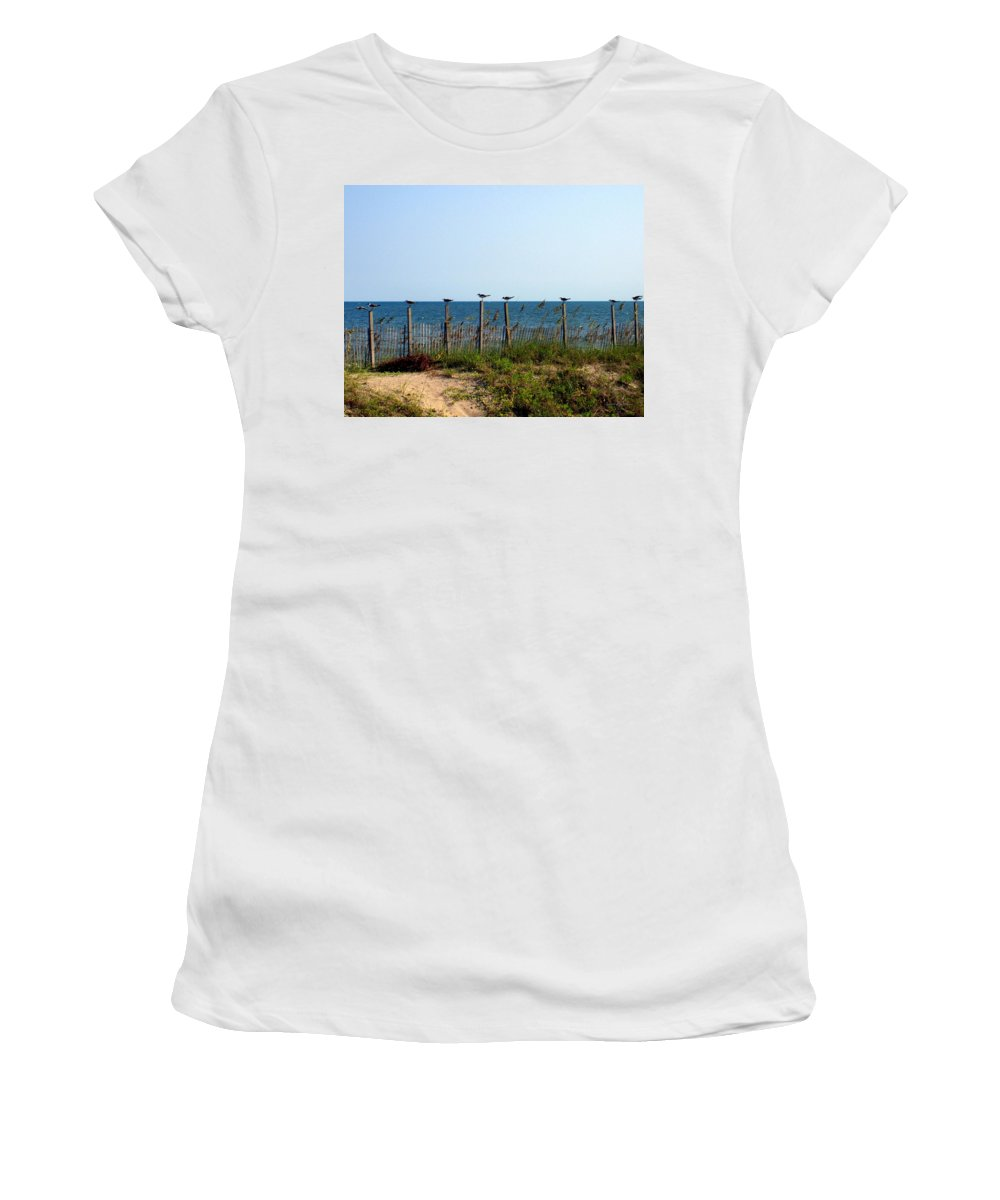 Birds Women's T-Shirt (Athletic Fit) featuring the photograph Ready For Take-off by Deborah Crew-Johnson