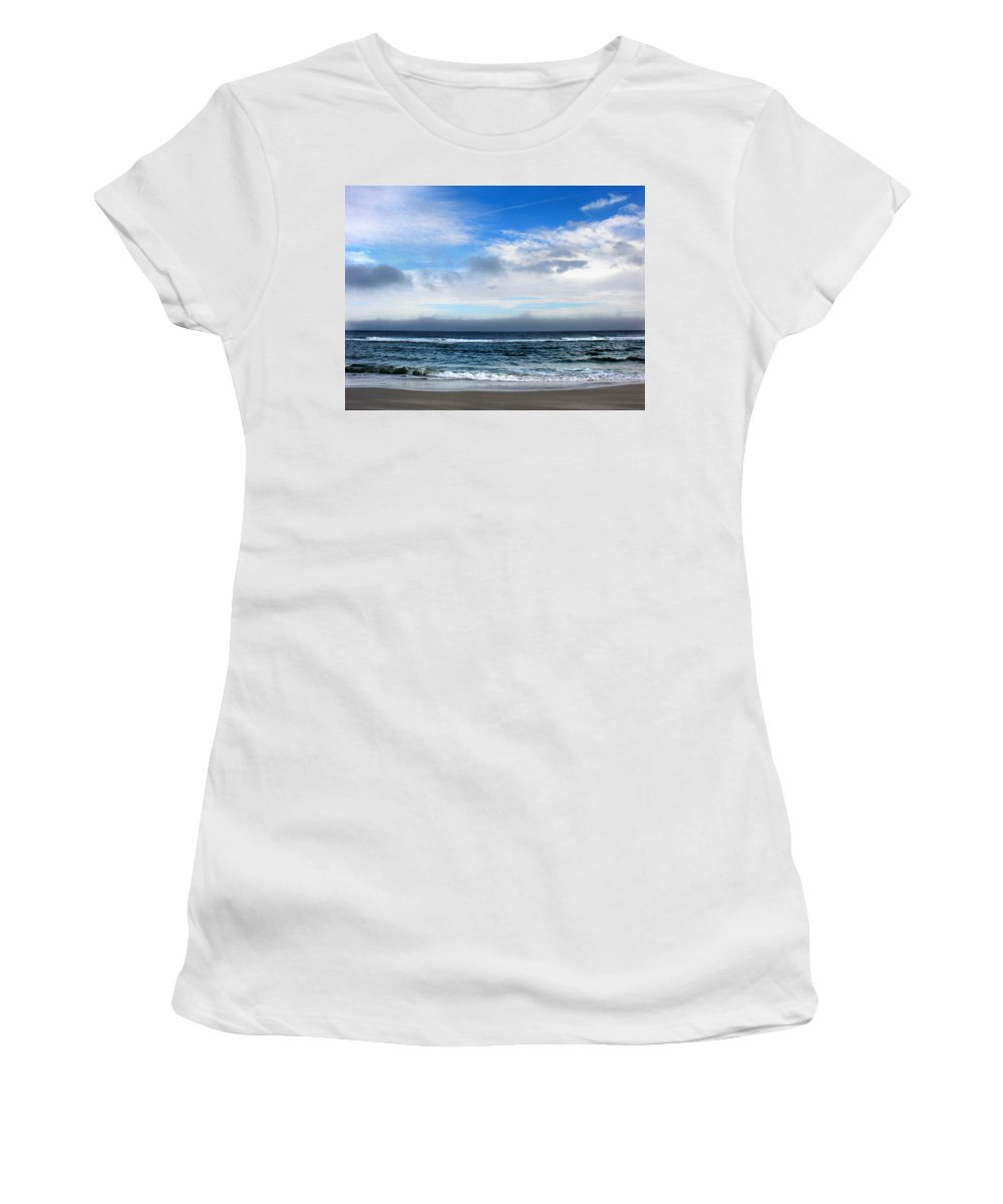 Seascape Women's T-Shirt (Athletic Fit) featuring the photograph Receding Fog Seascape by Steve Karol