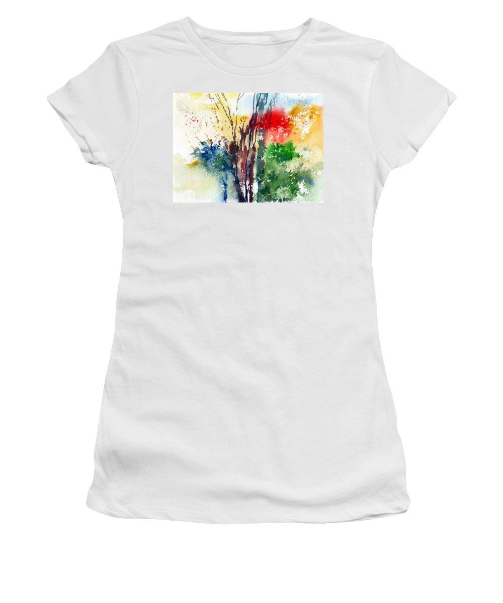Watercolor Women's T-Shirt featuring the painting Red And Green by Anil Nene